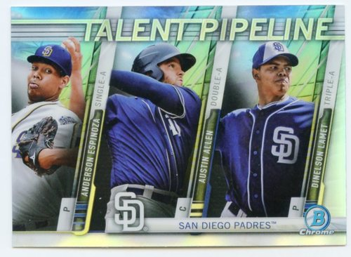 Photo of 2017 Bowman Chrome Talent Pipeline Refractors #TPSDP Anderson Espinoza/Austin Allen/Dinelson Lamet