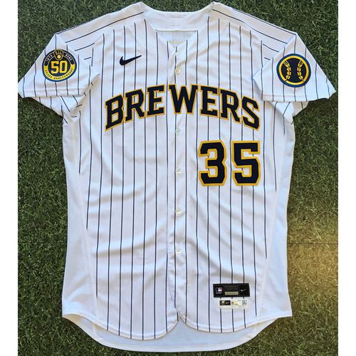 Photo of Brent Suter 2020 Team-Issued Home Pinstripe Jersey