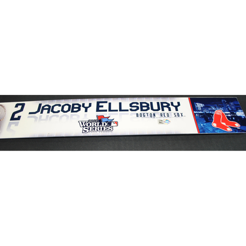 Photo of Game-Used Locker Name Plate - 2013 World Series Games 2 and 6 - Boston Red Sox vs. St. Louis Cardinals - Jacoby Ellsbury (Boston Red Sox)