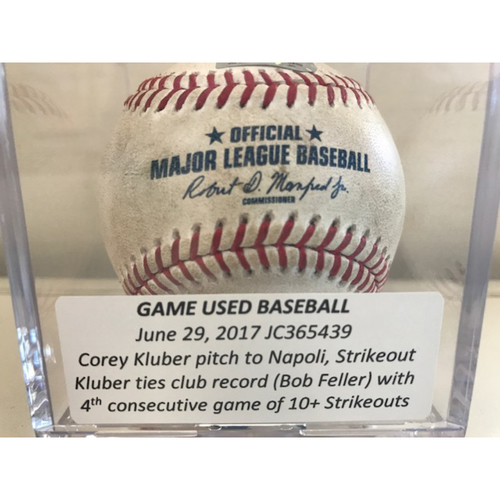 Game-Used Baseball: Corey Kluber Strikeout, 4th consecutive game of 10+ Strikeouts ties club record (Bob Feller)