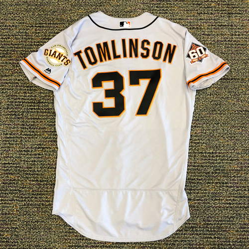 Photo of San Francisco Giants - 2018 Opening Day Game-Used Road Jersey - Worn by #37 Kelby Tomlinson on 3/29/2018 vs. the Los Angeles Dodgers - Jersey Size 44
