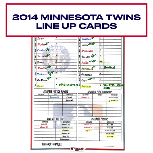 Photo of 2014 Minnesota Twins Game-Used Lineup Card - Choose your Game Date!