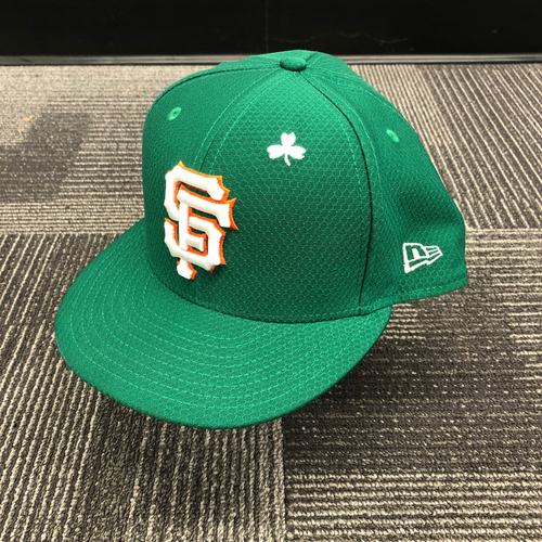 Photo of 2019 Game Used St. Patrick's Day Cap worn by #15 Bruce Bochy on 3/17/19 vs. Kansas City Royals - Size 8 1/8