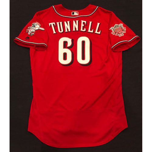 "Photo of Lee Tunnell -- Game-Used ""Los Rojos"" Jersey -- D-backs vs. Reds on 9/6/19 -- Jersey Size 46"