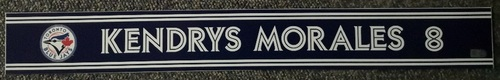 Photo of Authenticated Game Used Locker Name Plate - #8 Kendrys Morales (Sept 24, 18: 0-for-2)