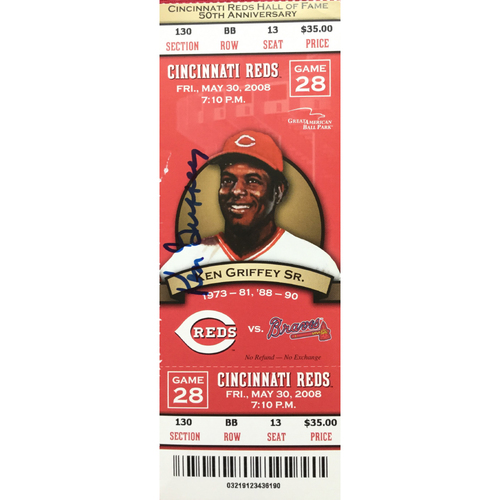 Photo of Ken Griffey Sr. Signed Ticket