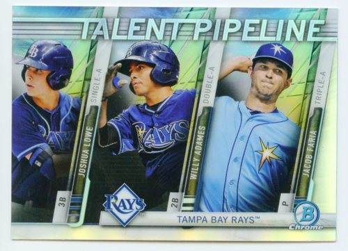 Photo of 2017 Bowman Chrome Talent Pipeline Refractors #TPTBR Joshua Lowe/Willy Adames/Jacob Faria