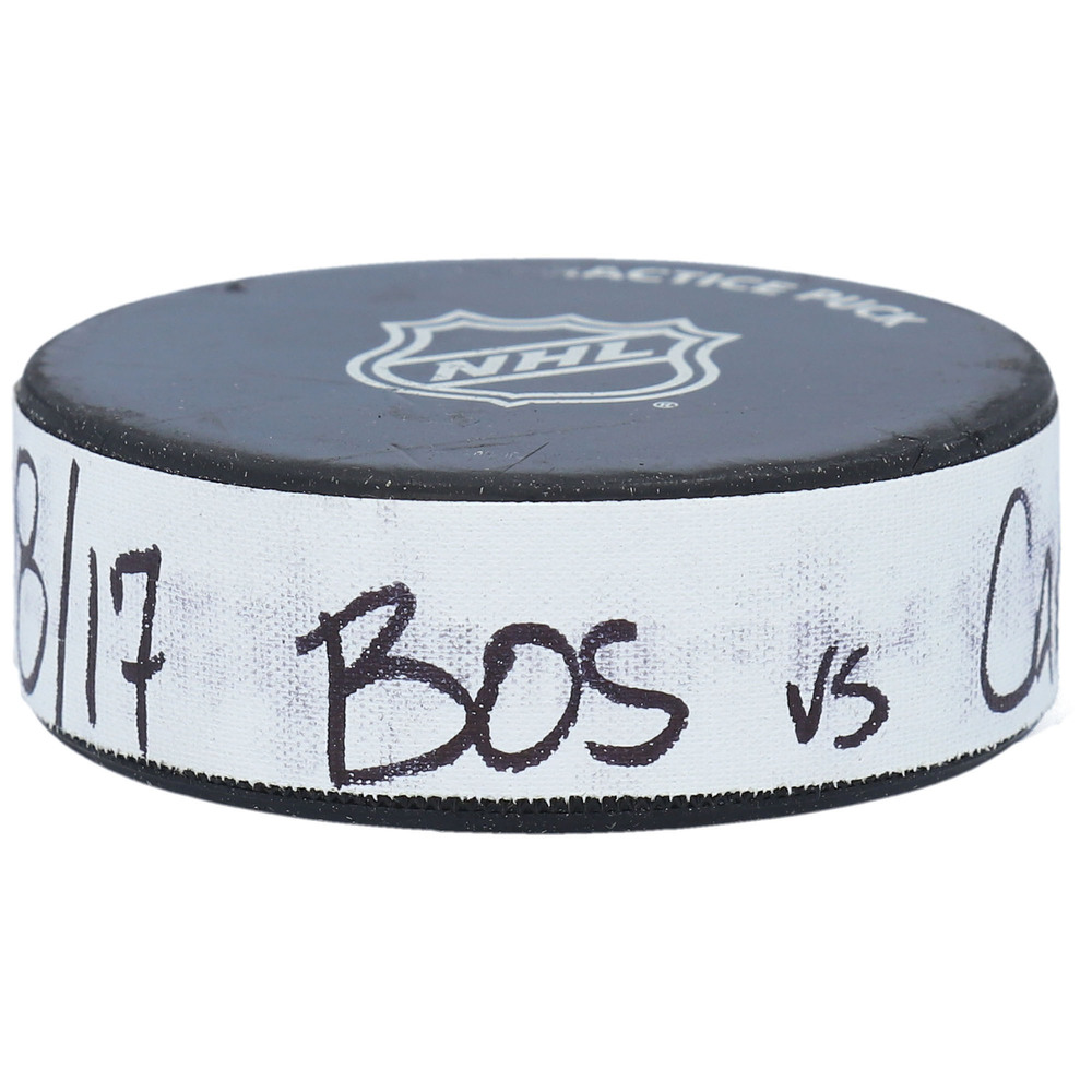 Practice-Used Puck from the Game Between the Carolina Hurricanes and Boston Bruins on August 17, 2020