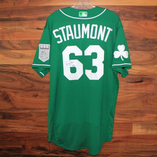 Photo of Autographed St. Patricks Day Jersey: Josh Staumont (Size 46)
