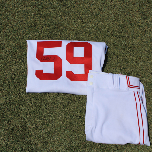 Photo of Game-Used & Autographed Monarchs Jersey & Game-Used Pants: Jake Brentz #59 (DET @ KC 5/23/21) - Size 46