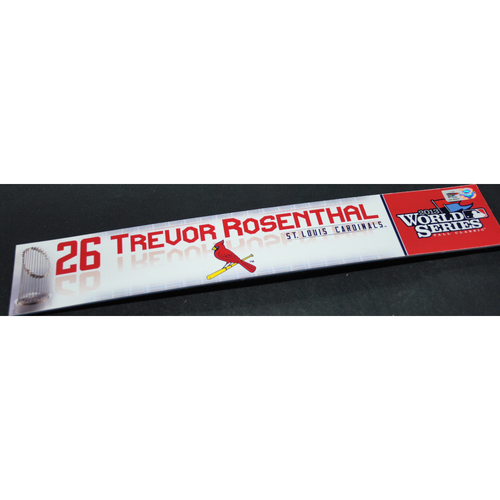 Photo of Game-Used Locker Name Plate - 2013 World Series Games 2 and 6 - Boston Red Sox vs. St. Louis Cardinals - Trevor Rosenthal (St. Louis Cardinals)