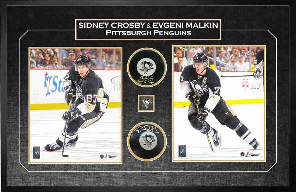 Sidney Crosby Amp Evgeni Malkin Dual Signed Amp Framed Pucks