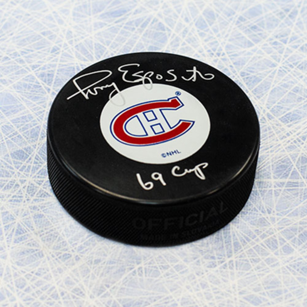 Tony Esposito Montreal Canadiens Autographed Hockey Puck with 69 Cup Note
