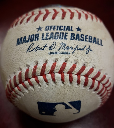 Photo of Authenticated Game Used Baseball - Khris Davis Single vs Seung Hwan Oh on May 17, 2018 (Top 5)