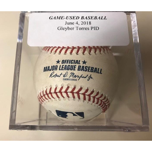 Photo of Game-Used Baseball: Gleyber Torres Pitched in Dirt
