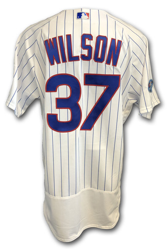 Photo of Justin Wilson Game-Used Jersey -- Rockies vs. Cubs -- 10/2/18 -- 2018 Postseason Wild Card