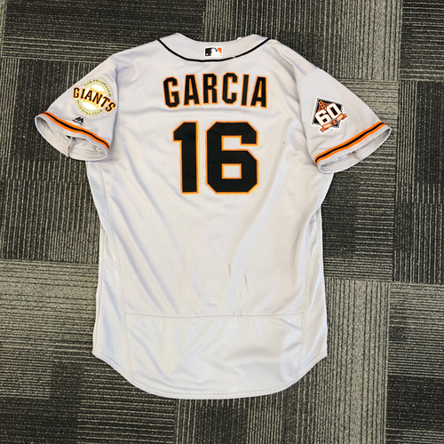 Photo of 2018 Game Used Road Alternate Jersey worn by #16 Aramis Garcia on 9/23 @ St. Louis Cardinals - Size 48