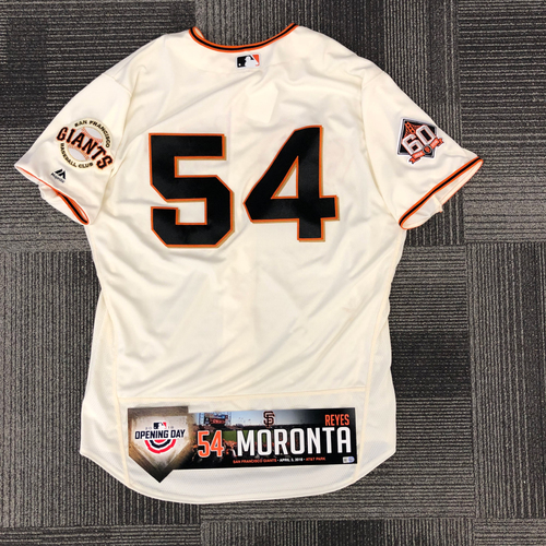 Photo of 2018 Game Used Home Cream Jersey & Opening Day Locker Tag worn by #54 Reyes Moronta on 4/3 vs. Seattle Mariners - 0.2 IP, 1 K - SIze 50