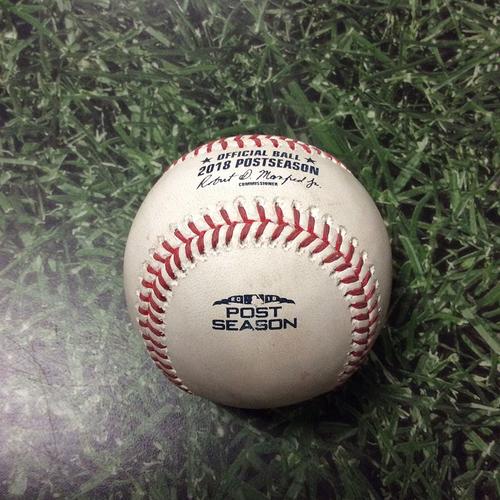 Game-Used Baseball NLCS Game 2 LAD@MIL 10/13/18 - Hyun-Jin Ryu - Lorenzo Cain: Strikeout