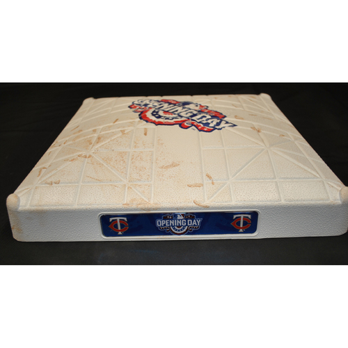 Photo of Game Used Opening Day Base - Kansas City Royals at Minnesota Twins (4/3/2017) - 2nd Base - Innings 3 - 4