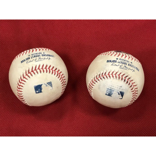 Photo of Game-Used BACK TO BACK HOME RUN BASEBALLS, 9/10/20 Los Angeles Dodgers at Arizona Diamondbacks: Corey Seager and A.J. Pollock Hit Back to Back Home Runs in the Top of the 3rd Inning Off of Madison Bumgarner