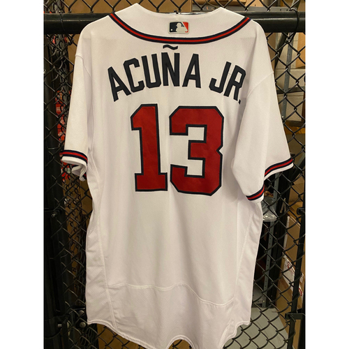 Photo of 2020 Silver Slugger: Ronald Acuna Jr. Game Used Home White Jersey - Worn 8/4/20, 8/26/20 (Home Run), 9/4/20 (Home Run), 9/30/20 (Wild Card), 10/7/20 (NLDS)