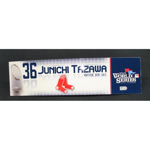 Photo of Game-Used Locker Name Plate - 2013 World Series Game 5 - Boston Red Sox vs. St. Louis Cardinals - Junichi Tazawa (Boston Red Sox)