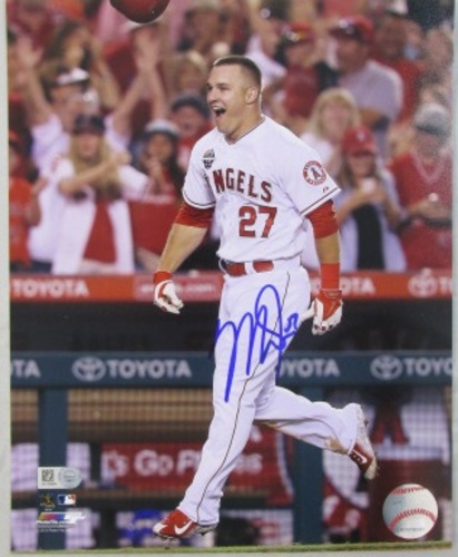 Photo of Mike Trout Autographed Celebrating 8x10