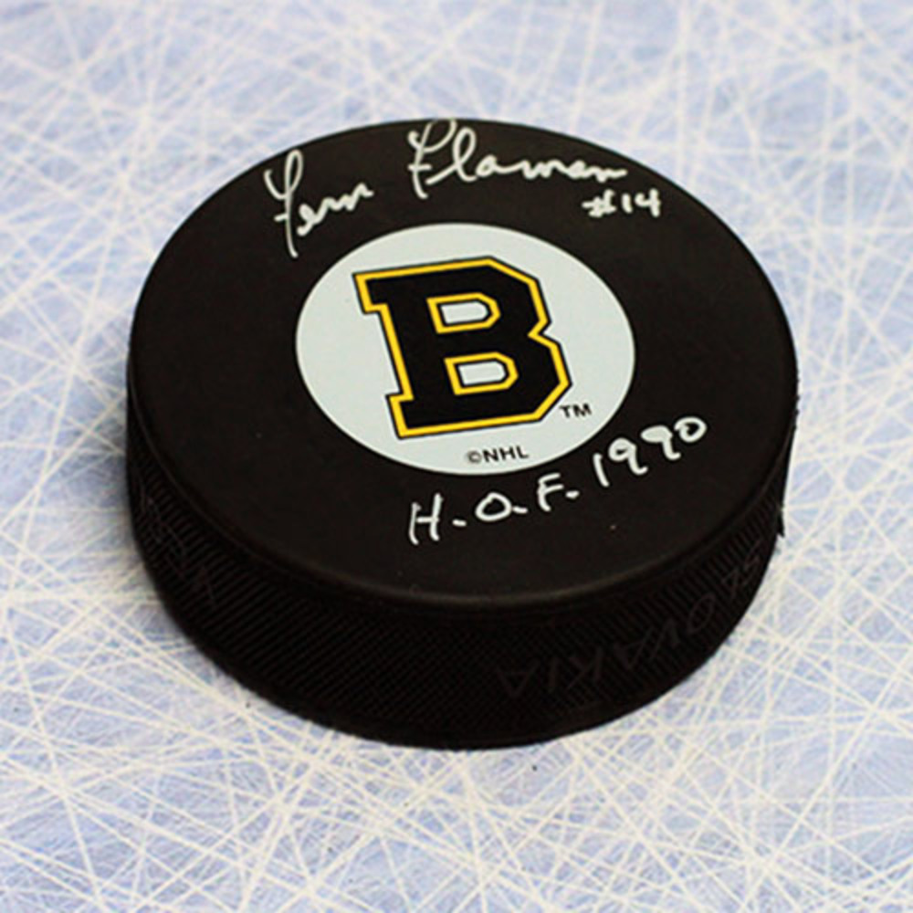 Fern Flaman Boston Bruins Autographed Retro Original Six Puck with HOF Note