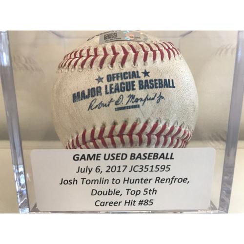 Game-Used Baseball: Hunter Renfroe Double, Career Hit #85