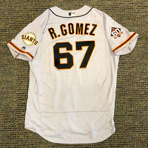 Photo of San Francisco Giants - 2018 Opening Day Game-Used Road Jersey - Worn by #67 Roberto Gomez on 3/29/2018 vs. the Los Angeles Dodgers - Jersey Size 48