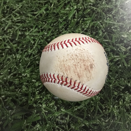 Photo of Game-Used Baseball CHC@MIL  04/08/18 - Adrian Houser - Willson Contreras: Triple