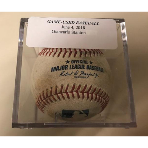 Photo of Game-Used Baseball: Pitched to Giancarlo Stanton