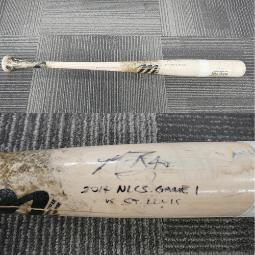 Photo of 2014 Postseason Game Used & Autographed Bat - NLCS Game 1 @ St. Louis Cardinals - Used, Autographed, and Inscribed by 2014 NLCS & WORLD SERIES MVP #40 Madison Bumgarner - - Inscribed