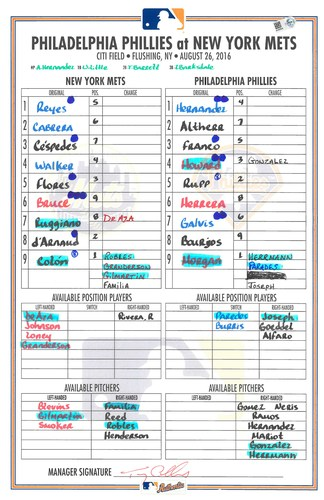 Photo of Game Used Lineup Card - Bartolo Colon Start; 230th Career Win Becomes 3rd All Time Among Latin Pitchers - Mets vs. Phillies - August 26, 2016
