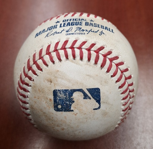 Photo of Authenticated Game Used Baseball - Single by Andrew Benintendi against Elvis Luciano (May 23, 19 vs BOS). Top 8