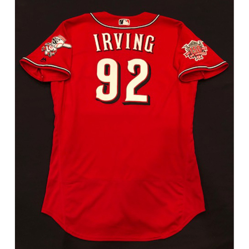 "Photo of Nate Irving -- Game-Used ""Los Rojos"" Jersey -- D-backs vs. Reds on 9/6/19 -- Jersey Size 46"