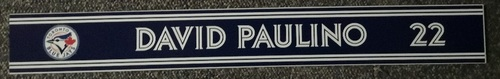 Photo of Authenticated Game Used Locker Name Plate - #22 David Paulino (Sept 6, 18: 1 IP, 1 Hit, 0 ER, 2 Ks)