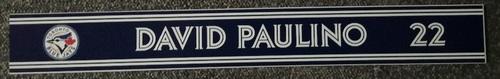 Photo of Authenticated Game Used Locker Name Plate - #22 David Paulino (Sept 6, 18: 1 IP, 1 Hit, 0 ER, 2 Ks)