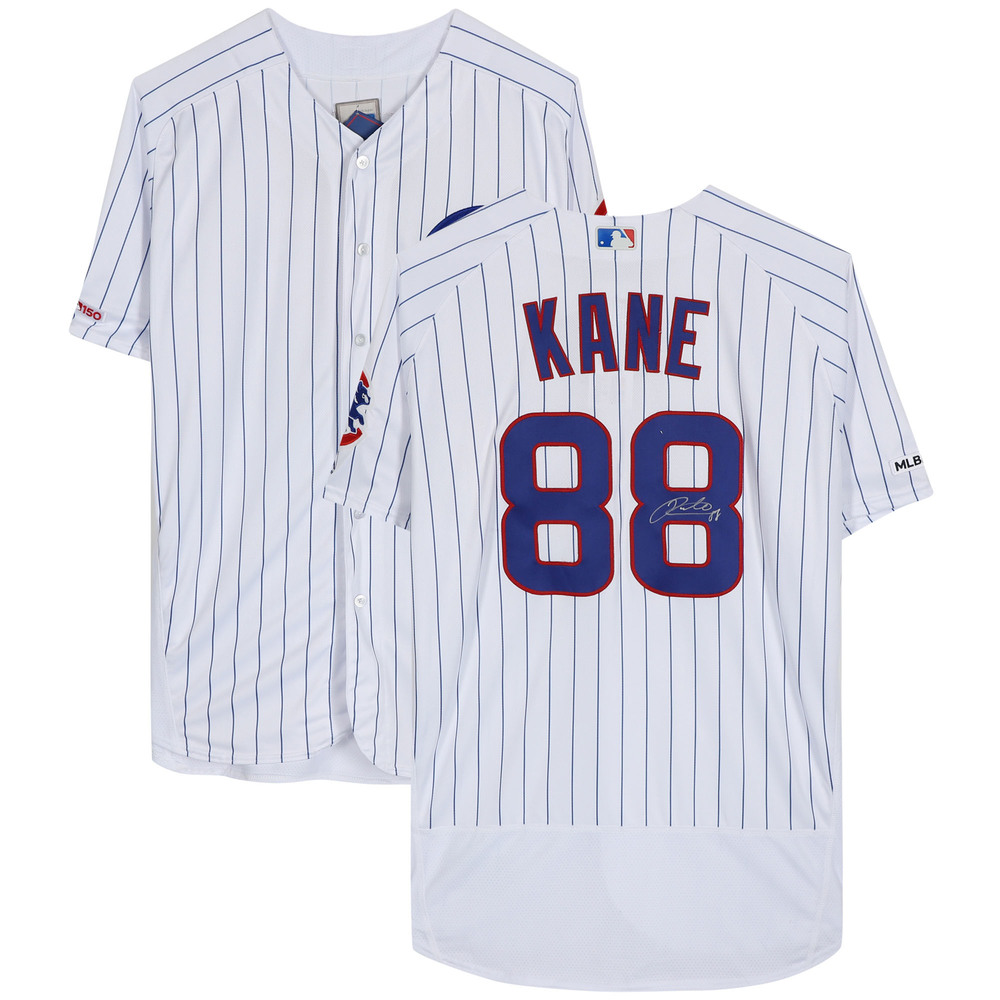 Patrick Kane Chicago Blackhawks Autographed Chicago Cubs White Majestic Authentic Jersey - NHL Auctions Exclusive