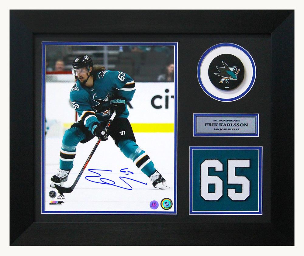 Erik Karlsson San Jose Sharks Autographed Franchise Jersey Number 20x24 Frame
