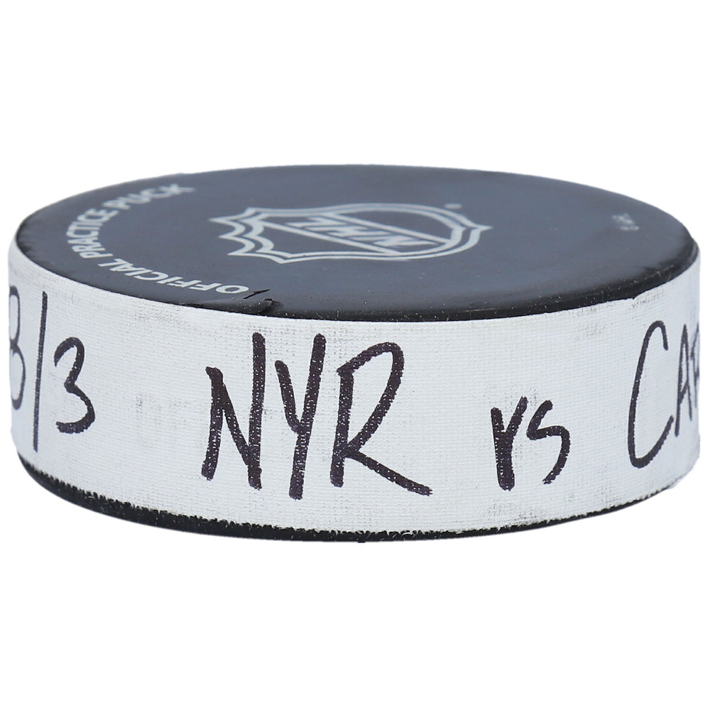 Carolina Hurricanes vs. New York Rangers Practice-Used Puck from Game 2 of the 2020 Qualifying Series on August 3, 2020 - Used During Pregame Warm-Ups