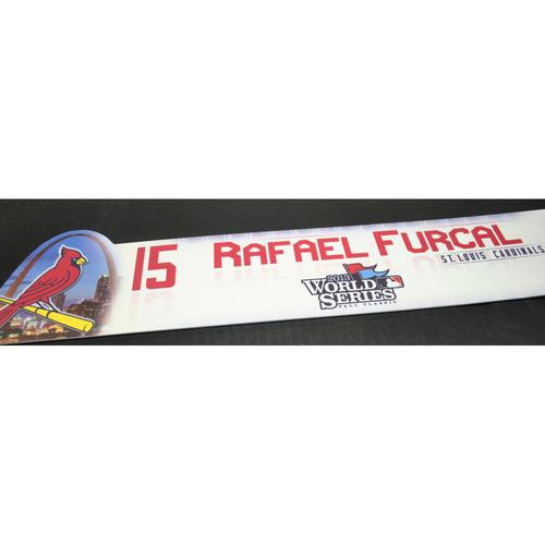 Photo of Game-Used Locker Name Plate - 2013 World Series Game 5 - Boston Red Sox vs. St. Louis Cardinals - Rafael Furcal (St. Louis Cardinals)