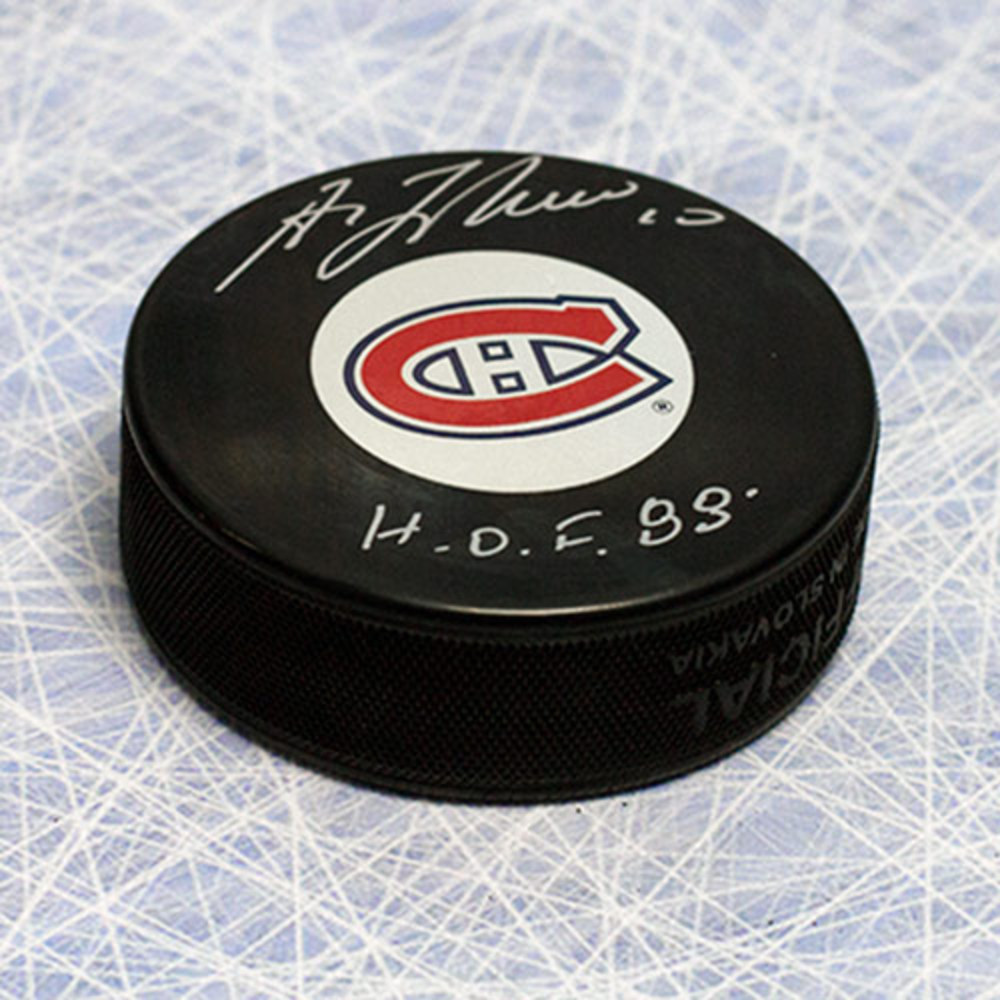 Guy LaFleur Montreal Canadiens Autographed Hockey Puck w/ HOF Inscription