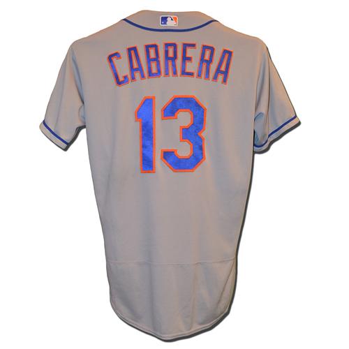Asdrubal Cabrera #13 - Game Used Road Grey Jersey - Cabrera Goes 3-5, RBI, 2B - Mets vs. Rockies - 8/2/17