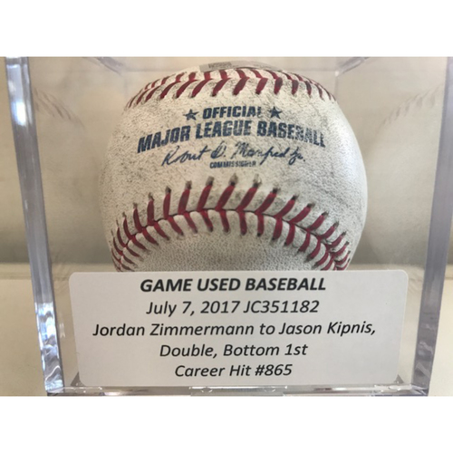 Game-Used Baseball: Jason Kipnis Double, Career Hit #865