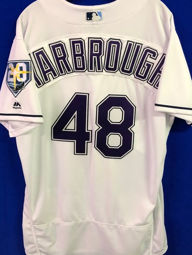 Photo of 20th Anniversary Game Used Devil Rays Jersey: Ryan Yarbrough (W, 3.2 IP, 3 SO) - September 8 v BAL