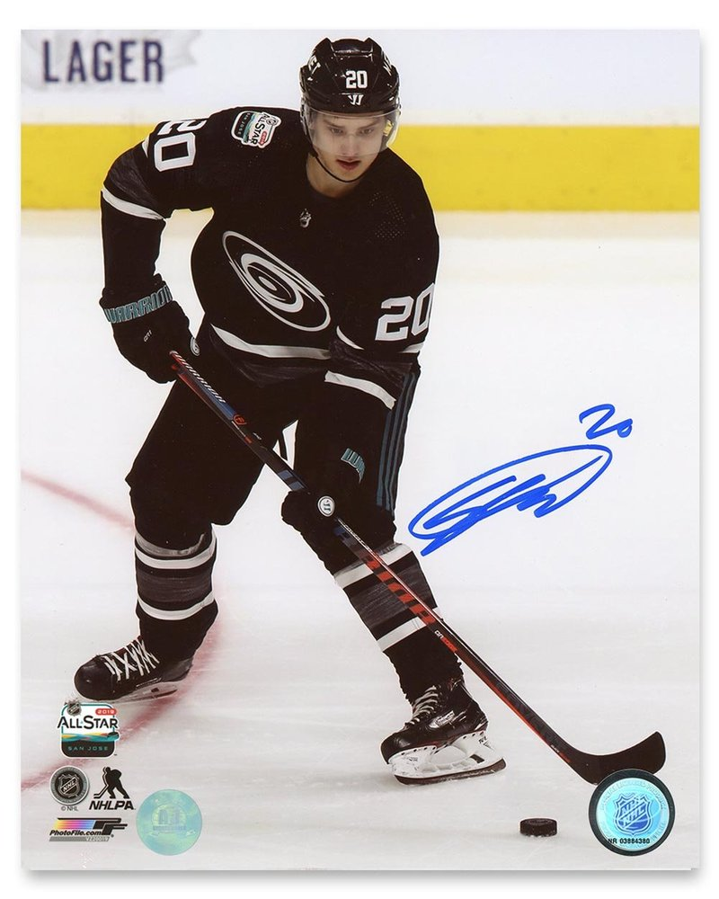 Sebastian Aho 2019 NHL All Star Game Autographed Hurricanes 8x10 Photo