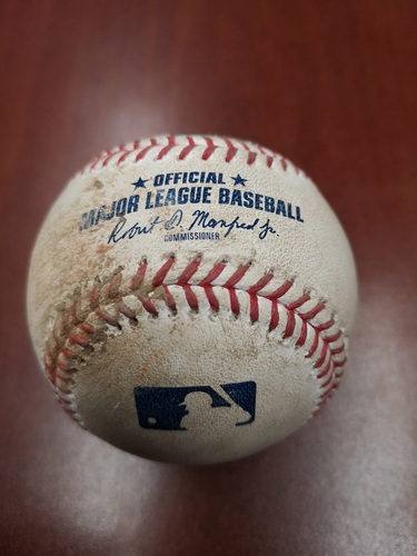 Photo of Authenticated Game Used Baseball - Double by Shohei Ohtani against Nick Kingham (June 17, 2019 vs LAA). Top 6. 24th Career Double and 132nd Career Hit