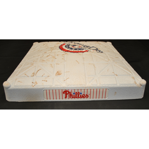 Photo of Game Used Opening Day Base - Miami Marlins at Philadelphia Phillies (4/9/2012) - 2nd Base - Innings 1 - 3